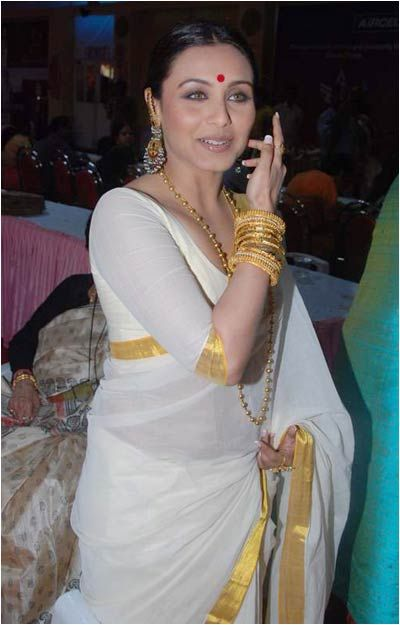 make sari | rani mukharjee white saree with gold border
