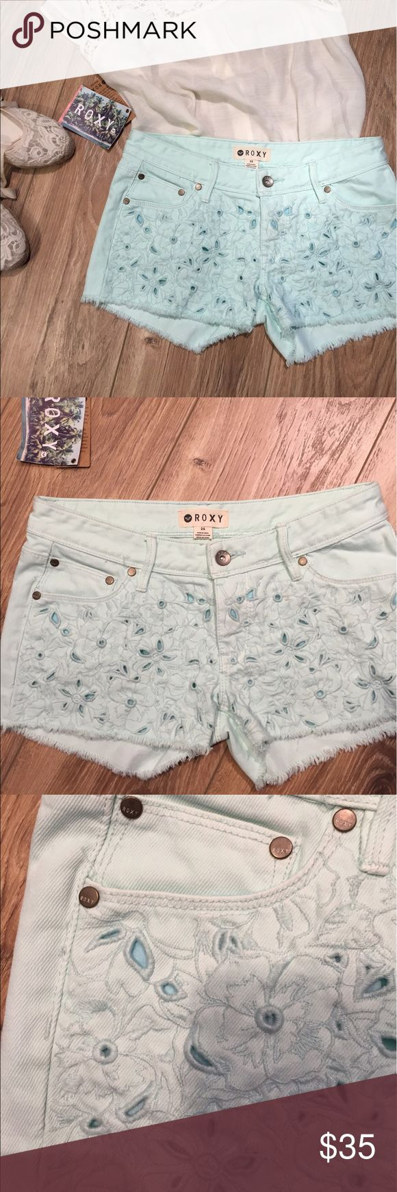 NWT Roxy Lovin Eyelet Shorts size 25 NWT Roxy Lovin Eyelet Shorts on Moonlight Jade size 25.  Low rise style. Roxy Shorts Jean Shorts