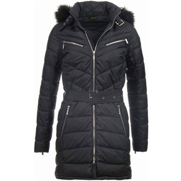 Women's Barbour Mondello Quilted Jacket - Black (440 BAM) ❤ liked on Polyvore featuring waist belt and barbour international