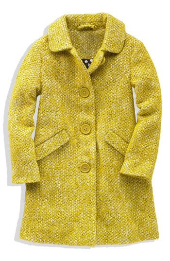 Mini Boden 'Cozy' Textured Peacoat (Big Girls) available at Nordstrom