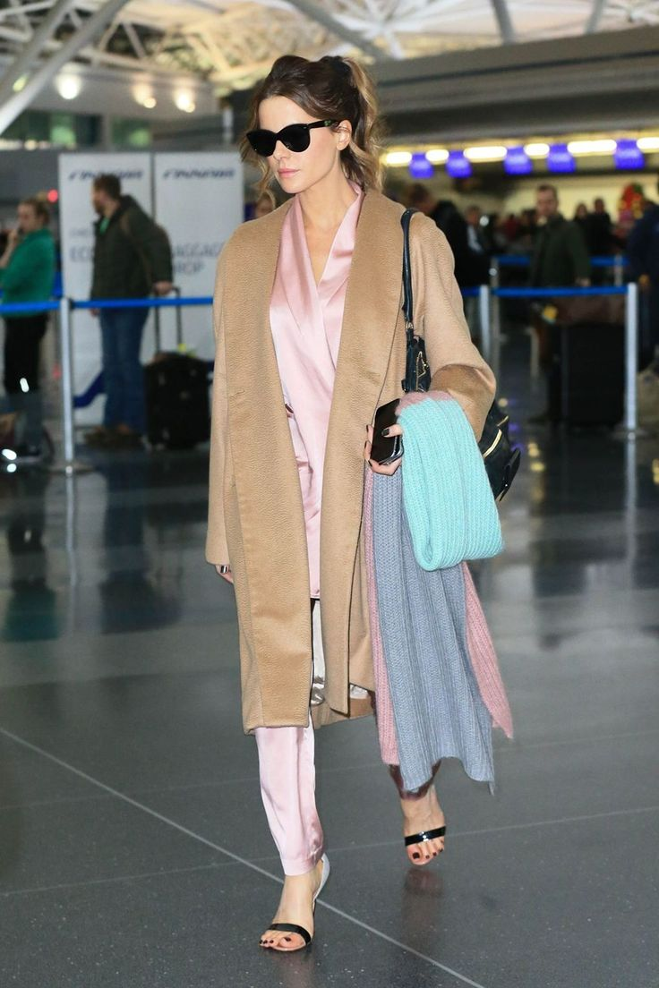 Kate Beckinsale in Ryan Roche arrives at LAX. #bestdressed