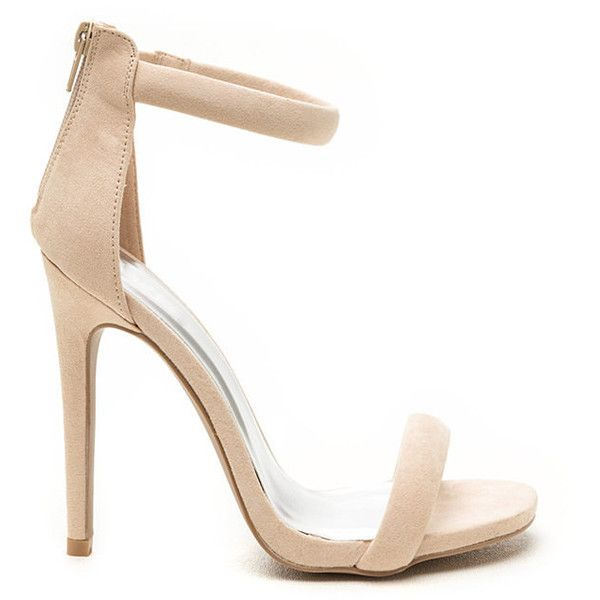 Simply Stunning Faux Suede Heels NUDE (£18) ❤ liked on Polyvore featuring shoes, pumps, tan, open toe shoes, high heels stilettos, print pumps, ankle strap pumps and high heel pumps