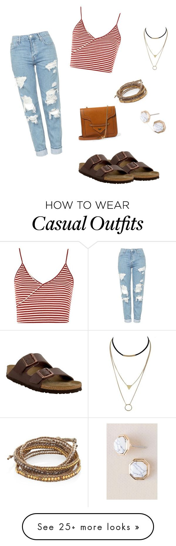 """Casual"" by stringcheesetheory on Polyvore featuring Birkenstock, Topshop, Chan Luu and Francesca's"