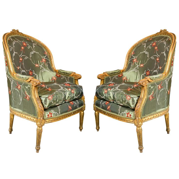 Pair Of French Louis Xvi Style Bergere Chairs By Jansen