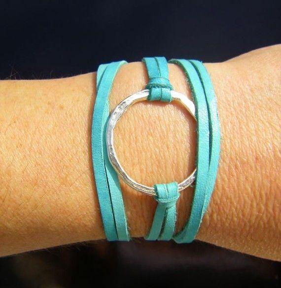 turquoise leather wrap: Turquoise Leather, Leather Cords, Leather Wrap Bracelets, Bracelets Sterling, Cute Bracelets, Sterling Silver, Pools Parties, Leather Wraps Bracelets, Leather Bracelets