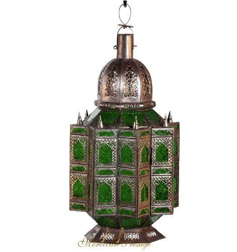"Arabesque Lantern Green . $495.00. Arabesque glass green and metal ceiling lamp with intricate design that offer warm and exotic glow and reflect art work to any space Dimension: 28""x14""x14"" Weight: 6LBS"