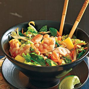 Lime Shrimp Salad with Bean Sprouts and Thai Basil | CookingLight.com #myplate #protein #veggies #fruit