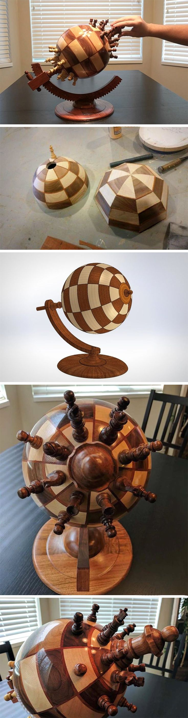 There's something so metaphorical about this spherical chess board! Like countries on our planet constantly picking sides and going on war, this spherical chessboard allows two teams to play against each other in a rather strangely warped, yet exciting planet-ish dimension.