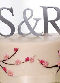 Silver Monogram Cake Topper | Available through Piece O' Cake