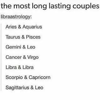 The signs as most long lasting couples ♥ Love my Scorpio man ♥♥♥