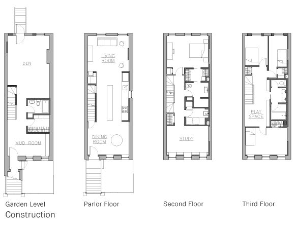 29 best images about townhouse floor plans on pinterest for Narrow apartment plans