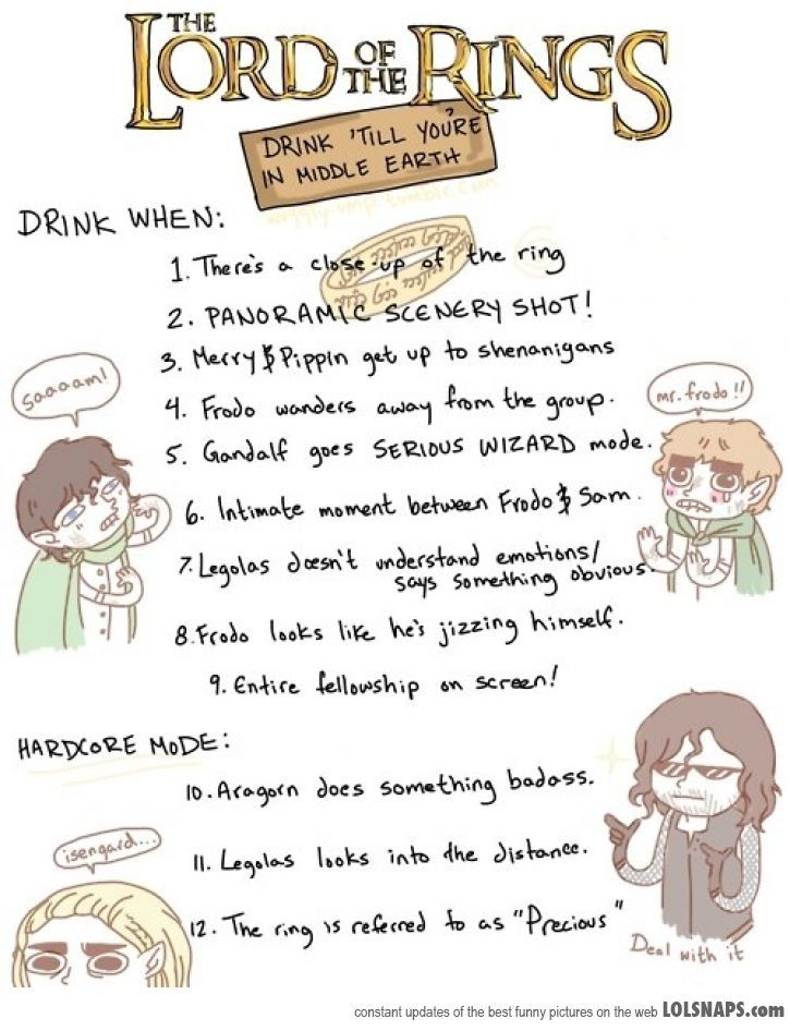 Lord Of The Rings Drinking Game Rules