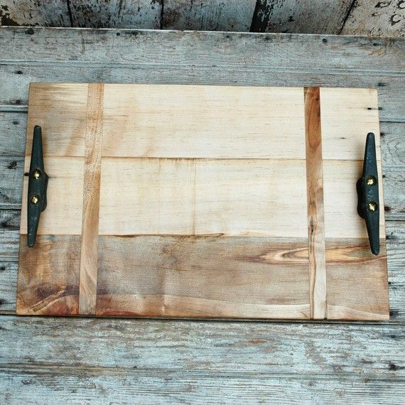 Cutting board/Serving Tray: Reclaimed wood, boat cleats, Large