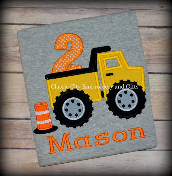 Dump truck construction applique birthday shirt, construcion birthday shirt, by ClassicCityEmb