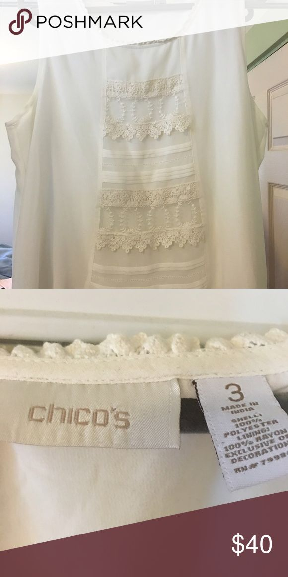 Sleeveless lacy cream blouse Chico's Feminine lacy cream blouse. Sheer lace over comfortable Rayon lining. Great warm weather look. Very girlie style . Looks great with pearls.👒👛👠 Chico's Tops Blouses