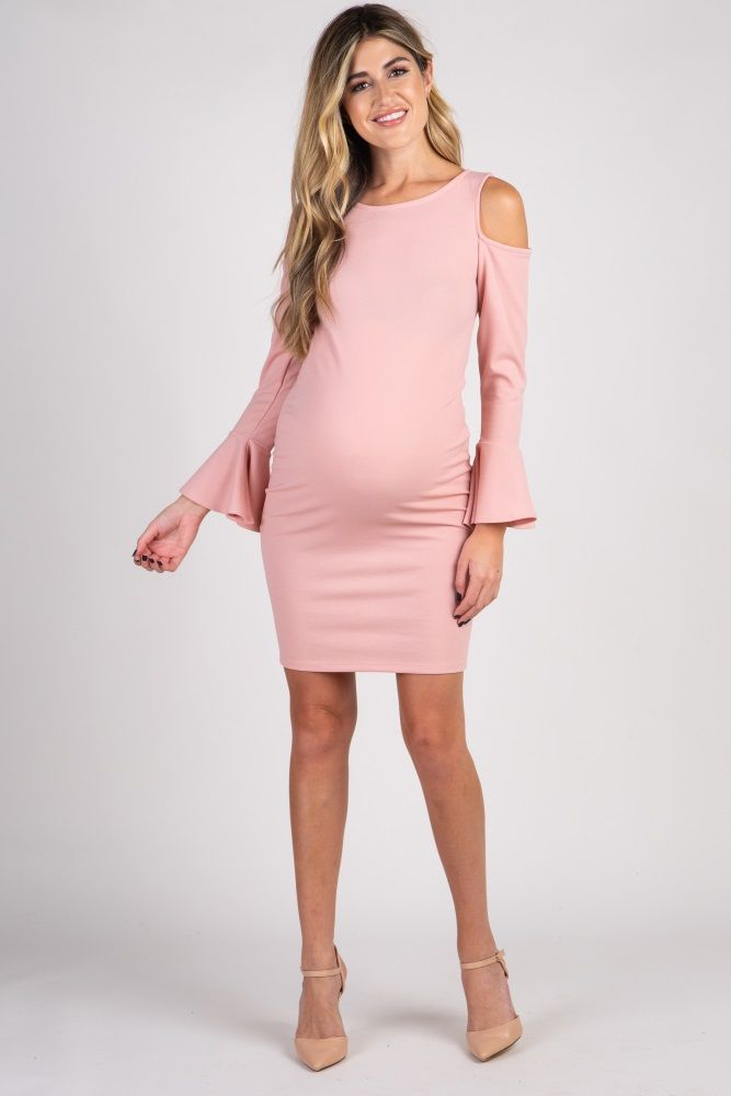 efa5359b50 Baby shower dress pink Light Pink Cold Shoulder Bell Sleeve Fitted Maternity  Dress