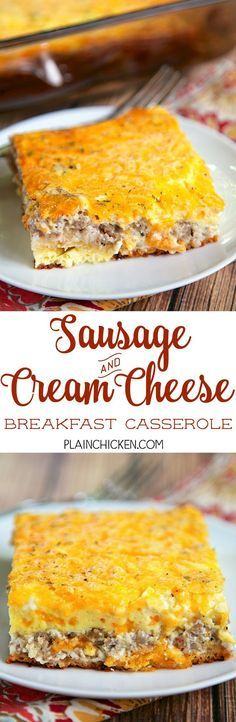 Sausage and Cream Cheese Breakfast Casserole - only 6 ingredients! crescent rolls topped with a mixture of sausage, cream cheese, cheddar, eggs and milk. This is a great casserole for a work potluck, baby shower brunch, breakfast, lunch, dinner, or any other time you need food! Everyone always asks for the recipe!