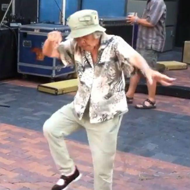Funny fat woman dancing