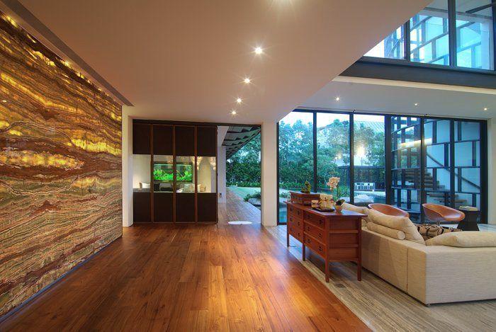 #Dalvey_Estate by #Aamer_Architects in #Singapore / #white #marmor #clerestory #garden #carpet #wallwasher #stairs #big_windows #louvers #wood #backlit_fascia #aquarium #corridor