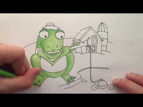 Watch me draw a Frog Fishing with a Flute on a Farm, words that start with the letter F. Then download the free printable colouring page below and color it in yourself!