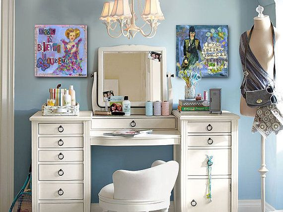 teen bedroom |  teen bedroom ideas for girls | Decorate your teenager's bedroom with empowering quote art. This inspirational art is great for teen girls in feminine colors of periwinkle and purple. Furniture is by #potterybarn #art by #schulmanArt