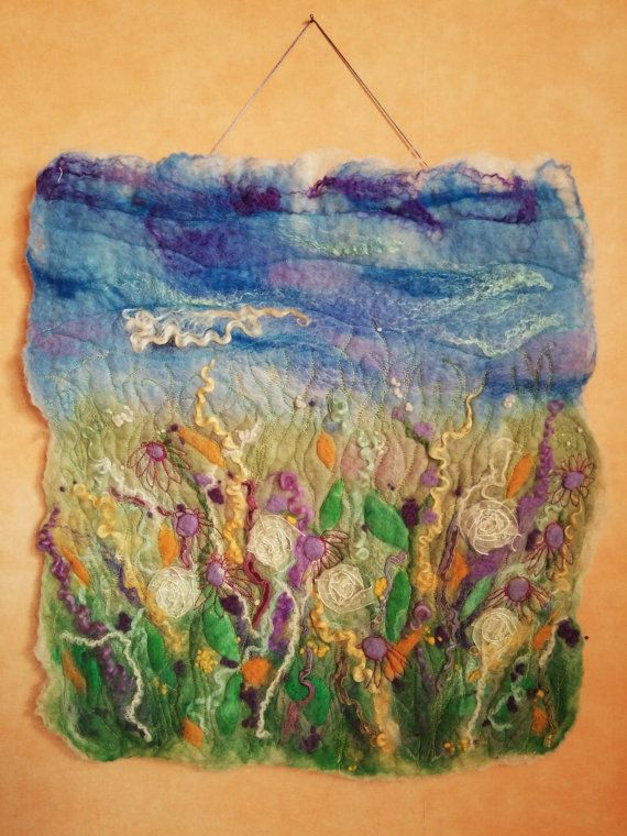This colourful floral scene is made in spring colours of green, yellow and lilac. It has been wet felted in merino wool and embellished with silk. blyth whimsies