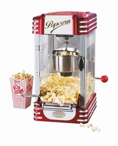 Nostalgia Electrics FC170 Retro Popcorn Machine. Echte bioscoop popcorn! Deze op de jaren '50 geïnspireerde popcorn machine, ziet er niet alleen leuk uit, maar is in staat die heerlijke echte bioscoop popcorn smaak te creëeren. Vul het pannetje met olie of boter, doe er wat mais in met het meegeleverde schepje, zet de machine aan en zie hoe de korrels worden rond gedraaid en de popcorn naar beneden komt vallen.