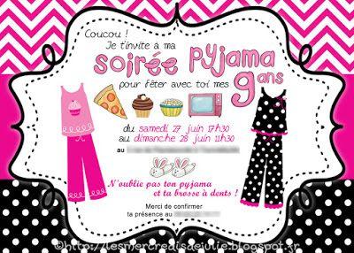 Invitations de soirée pyjama fille