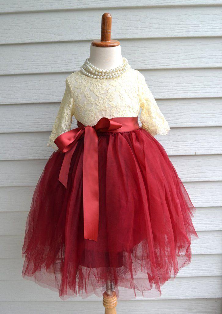 Girls Cranberry Maroon Tulle Skirt