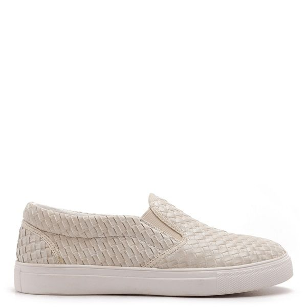 Beige slip-on sneakers with matte woven texture and white sole.