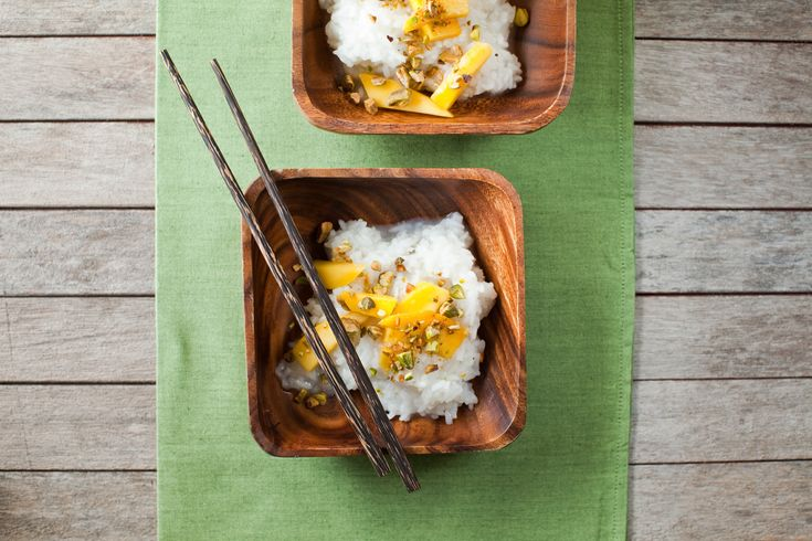 Thai Mango Sticky Rice Recipe--Note: For a creamier version of this dessert, pour a little coconut milk over each serving.