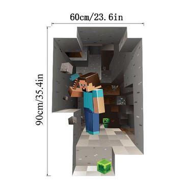 MineCraft 3D Dwarf Mining Cartoon Wall Sticker Living Room Home Decoration Decal DIY Mural Wall Art at Banggood