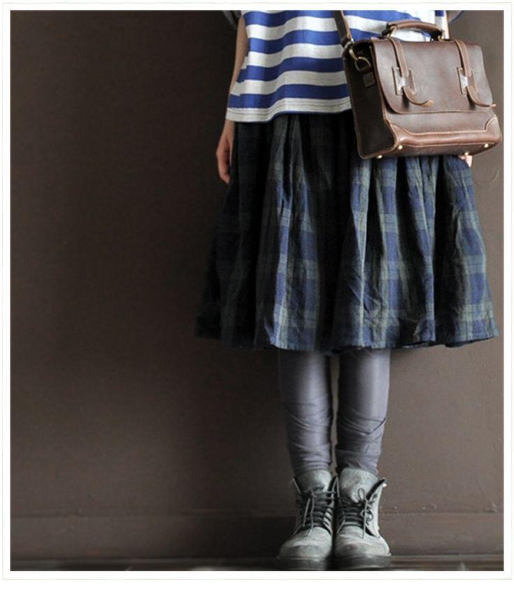 Green Grid linen skirt Japan Style Women clothes