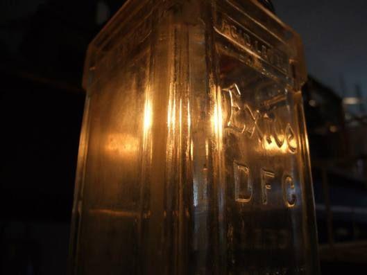 Light inside a glass battery vessel. Kabinett Vintage, Kyneton.