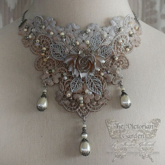 FIRST FROST Victorian lace bridal wedding choker, Victorian costume jewelry, bib necklace
