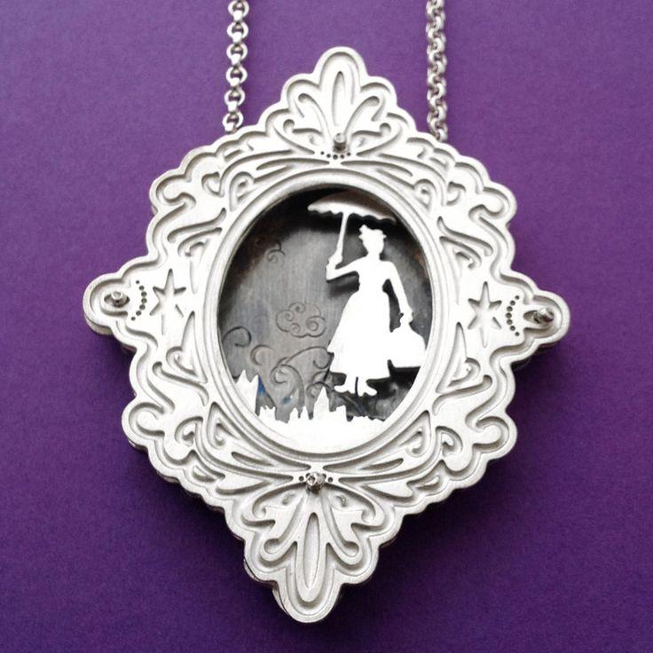 Mary Poppins etched shadowbox necklace. #NikiFisk #Shadowbox