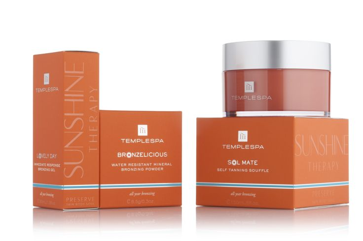 Gorgeous new sunny packaging for our SUNSHINE THERAPY RANGE. http://www.templespa.com/skin-care/bronzers