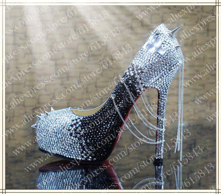 2013 new fashion platform genuine leather rhinestone platform high heel pump spiked heels for women US $179.00