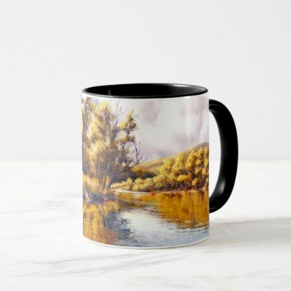 Autumn River Scenery Painting Gift Mugs - thanksgiving day family holiday decor design idea