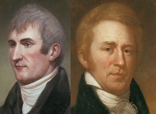 Meriwether Lewis and William Clark; painted by Charles Willson Peale in 1807; left St Louis in May 1804