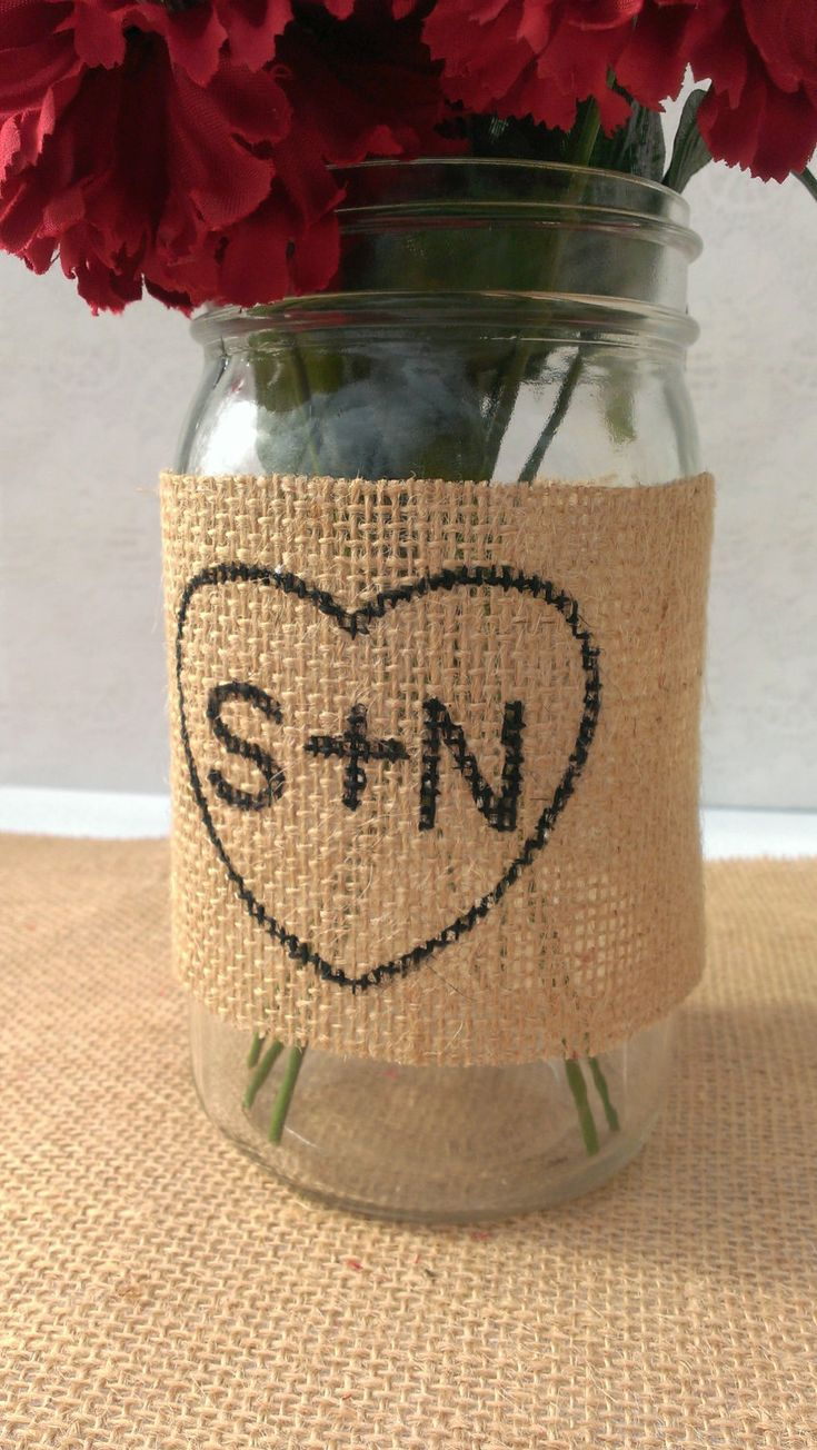 mason jar burlap wraps | 50 Best Burlap Wedding Ideas | via http://emmalinebride.com/decor/burlap-wedding-ideas/