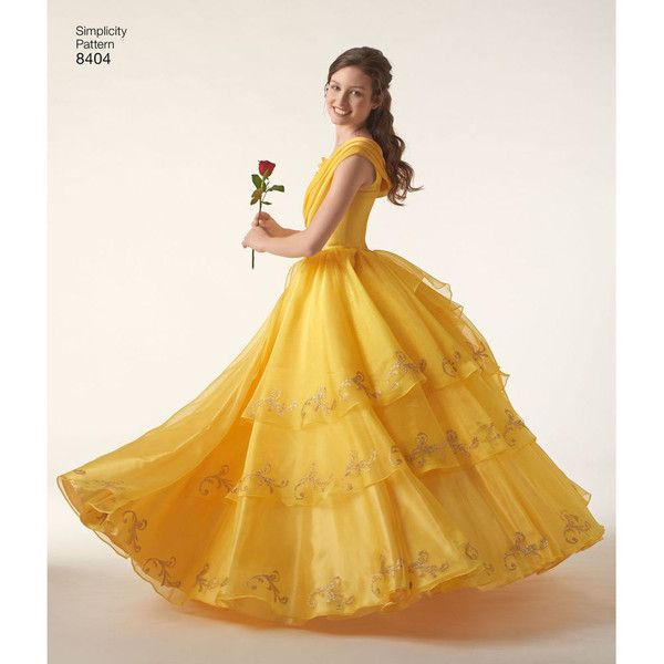 Simplicity Pattern EA840401 Misses' Disney Live Action Belle Costume ($25) ❤ liked on Polyvore featuring costumes, white costumes, belle costume, white halloween costumes, belle halloween costume and disney costumes