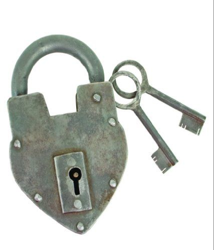 Antique Reproduction Heart Padlock with 2 Skeleton Keys.  $16.99.