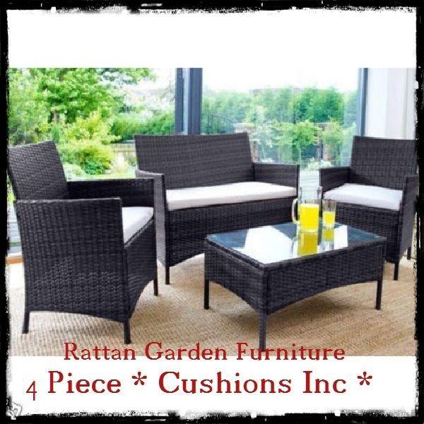 rattan garden furniture set sofa outdoor patio wicker armchairs coffee table uk