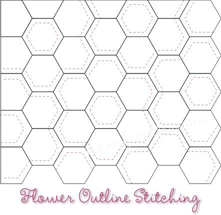 I think I may use something like this pattern to quilt my grandmother's flower garden quilt.