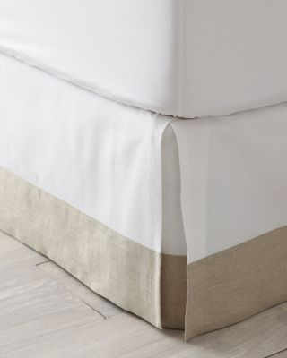 """Linen-Trimmed Box-Pleated Bedskirt               garnet hill 18"""" $128 also comes 14"""" white cotton and natural linen"""