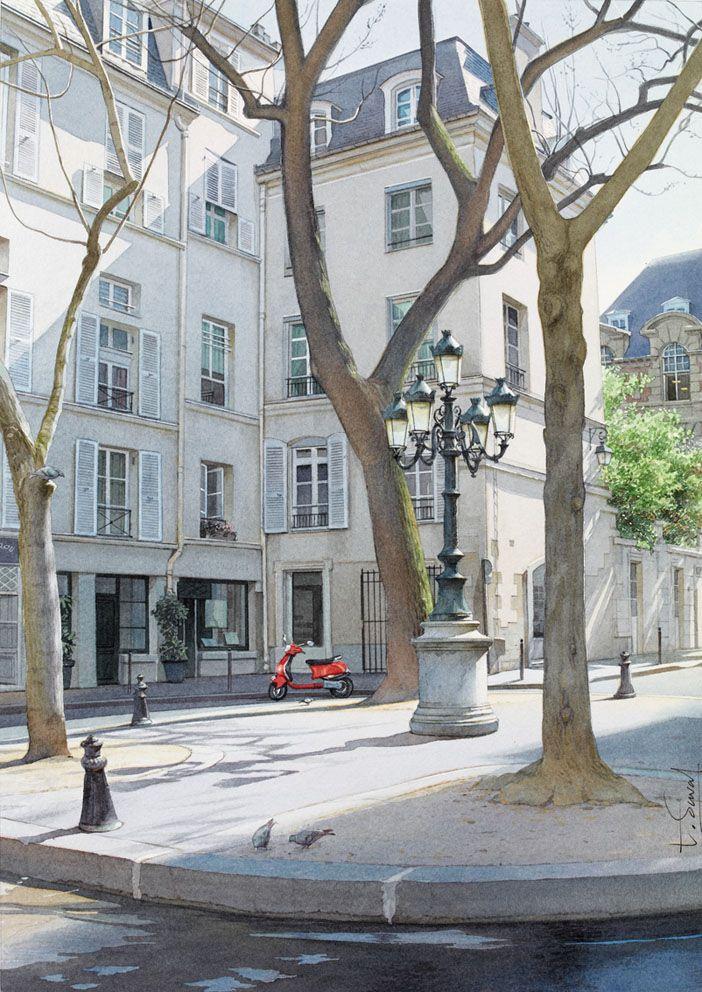 Thierry Duval 4 pigeons, 1 scooter et la place Furstenberg Aquarelle originale - Paris. La place Furstenberg est un lieu typique Par...