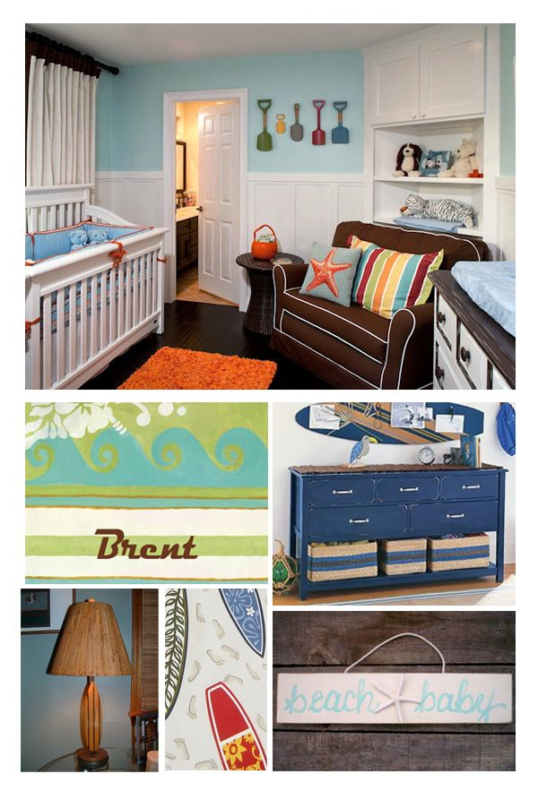 """inspiration for a boy's nursery (someday). my husband is a surfer, hence the """"surfer boy"""" theme"""