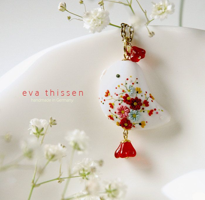BIRDIE in white colour. Beautiful handmade polymer clay bird pendant. Made to order. $49.00, via Etsy.