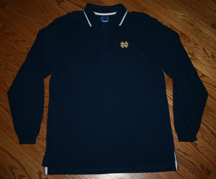 Notre dame irish long sleeve polo shirt adidas cotton men for Notre dame golf shirts